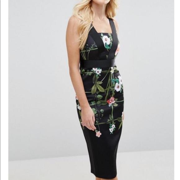 0ca7ac7ee41380 Ted Baker Black Kacied Secret Trellis Midi dress. M 5be506908ad2f91543db2d84